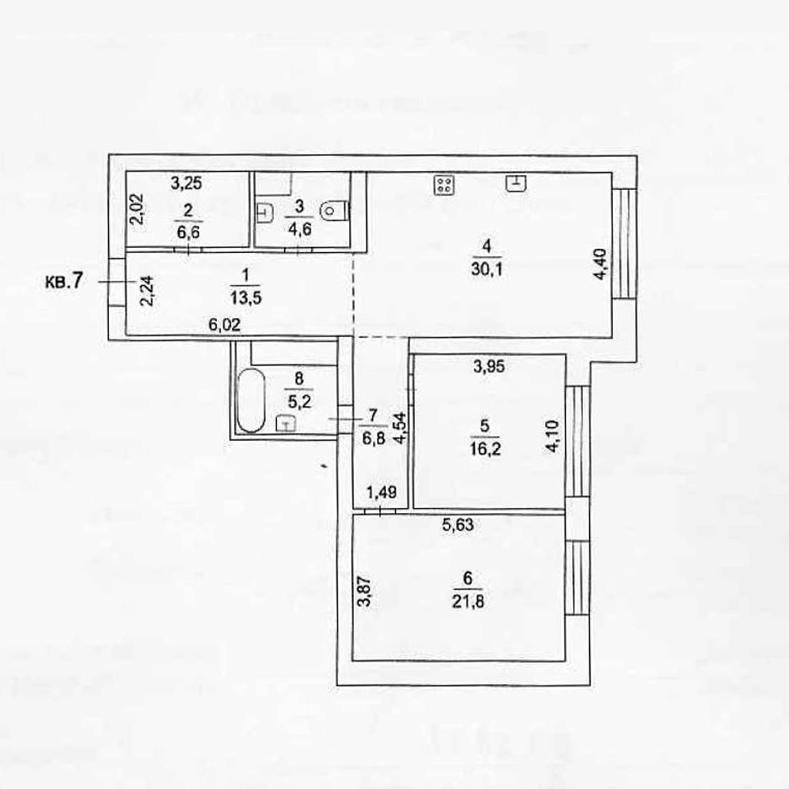 Планировка квартиры №7 в поселке Усово
